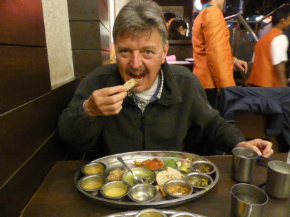 Thali no. 2 - A smorgasbord of Gujarati and Rajasthan specialities.  Radjhani Restaurant, Connaught Place again. The sheer weight of dishes here makes it hard to convey, the waiters wash your hands with rose water from an ornate decanter before diving in.  Probably about 50 delicacies, free flowing and a taste overload.